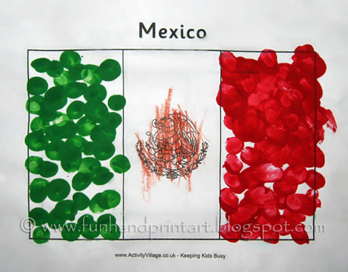 Use your fingerprints to create a Mexican flag for Cinco de Mayo.