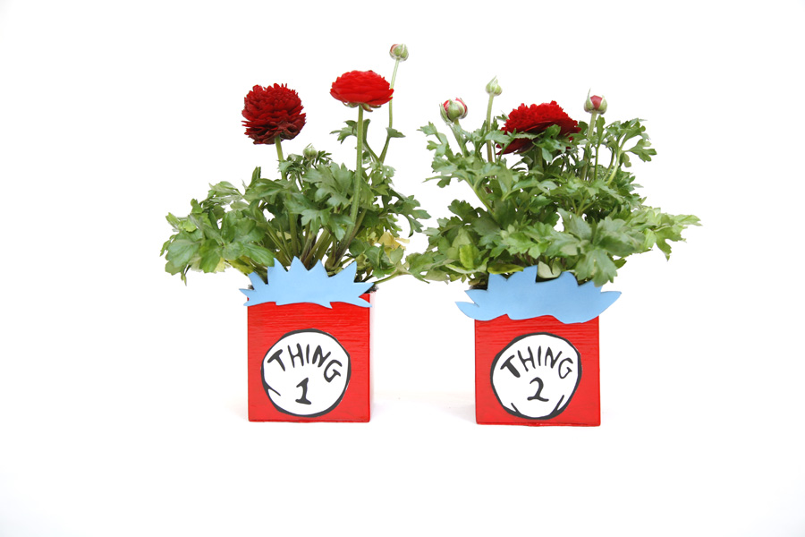 Thing 1 and thing 2 recycled planters from milk carton. A book inspired craft for kids to make this spring or summer.