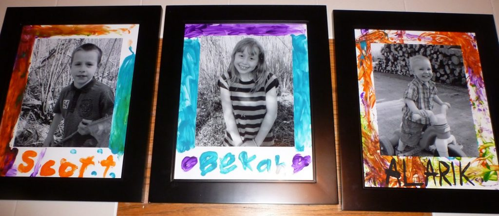 mats for framed photos of your kids, finger painted by them!
