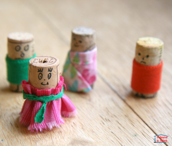 cork dolls made with fabric