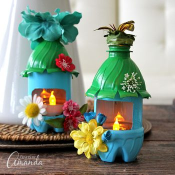 These cute fairy house night lights are made from recycled bottles, so adorable!