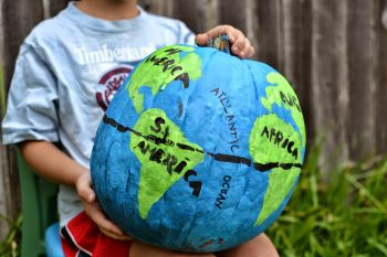 Turn a pumpkin into a globe with a little paint.