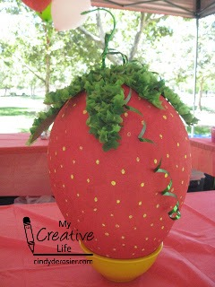 Some piñata designs are challenging to make, but a strawberry is really easy!