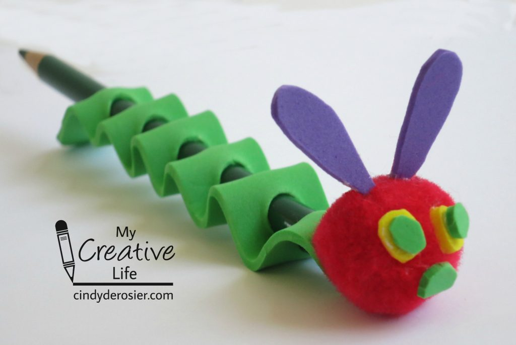 Turn a pencil into Eric Carle's Very Hungry Caterpillar using craft foam.