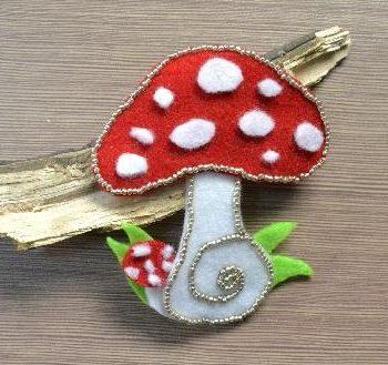 Beaded Felt Mushroom