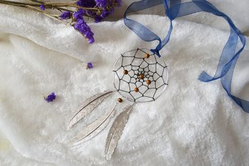 How to Make Simple Mini Dream Catcher with Silver Leaves Pendants