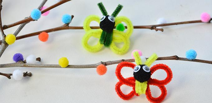 Easy Pandahall DIY Project - How to Make Easy Chenille Stem Butterfly Crafts for Kids