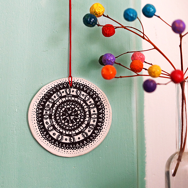 Clay mandala hanging