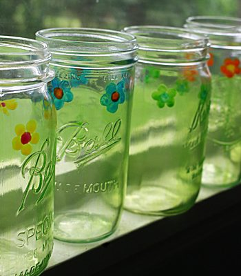 Painted Mason Jar Drinking Glasses