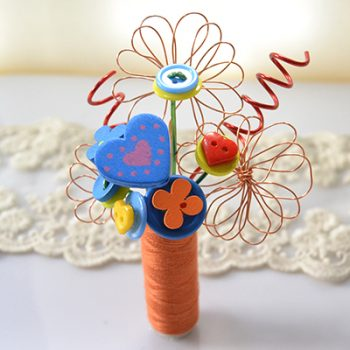 Button and Wire Bouquet