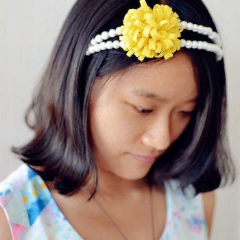 Pearl Headband with Felt Flower