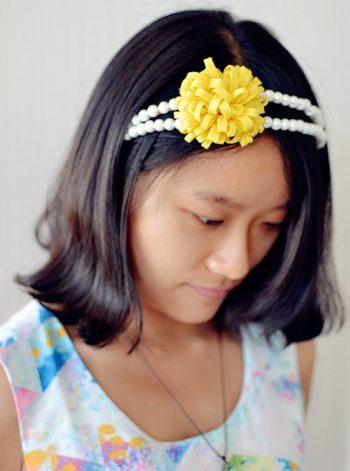 Pearl Headband with Felt Flower