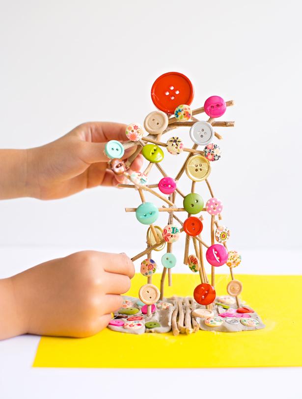 Button Stick Tree Craft
