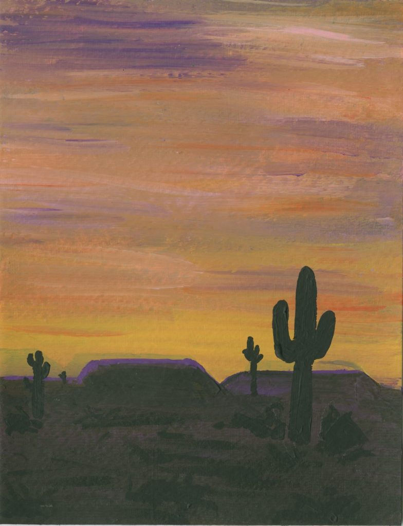 It's easy to paint a pretty desert sunset scene.