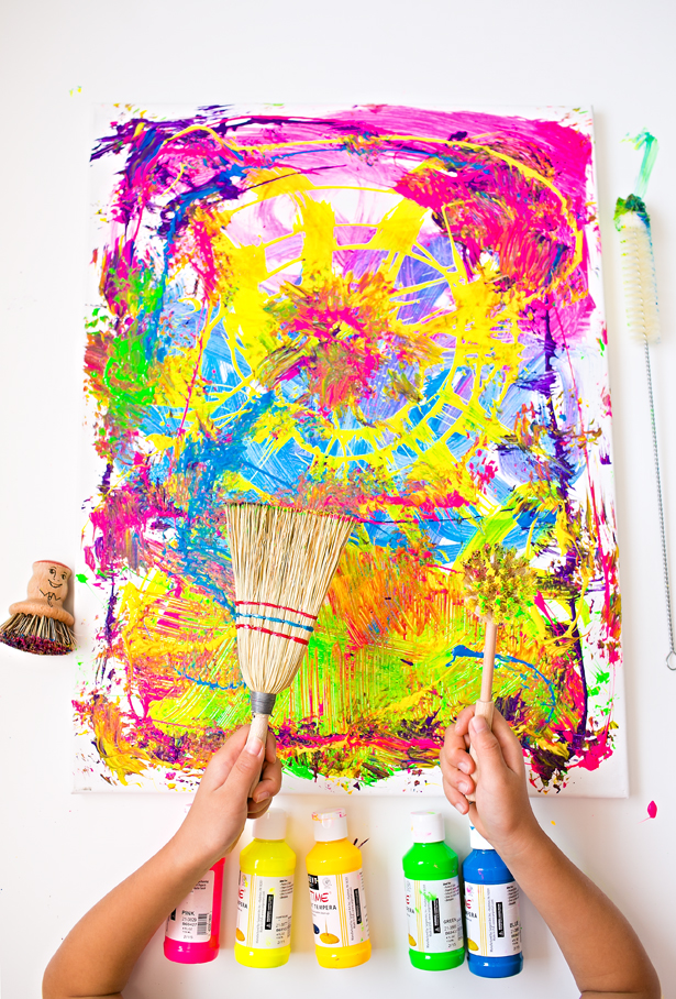 Cleaning Brushes Painting With Kids