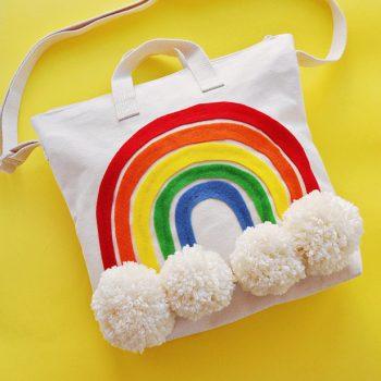 Rainbow Pom Pom Tote Bag
