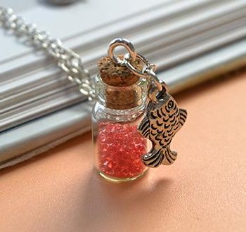 Bottle and Fish Pendant Necklace