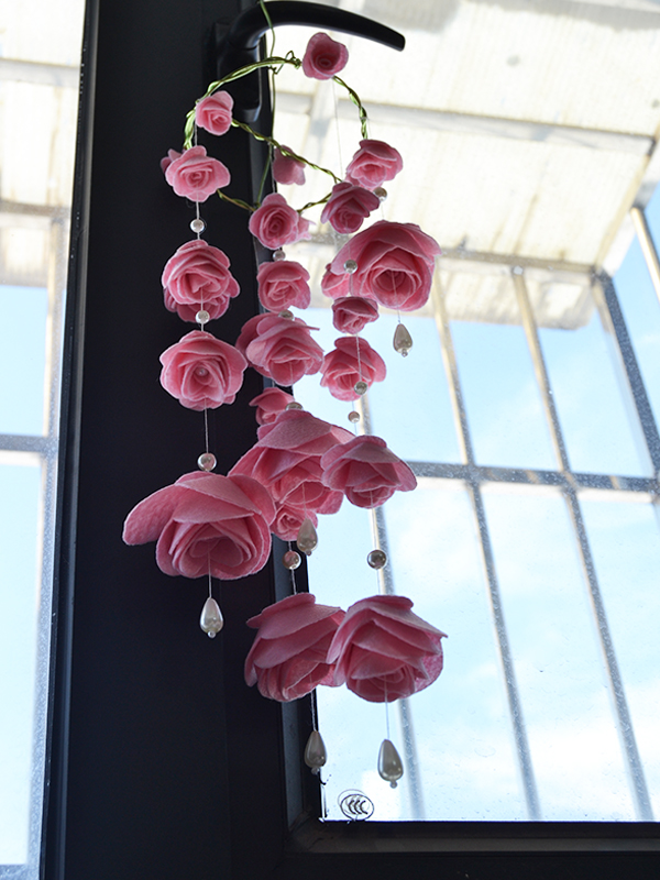 How to Make Pink Felt Rose Wind Chime with Pearl Dangles for House Decoration