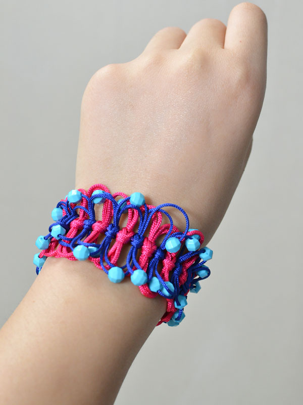 How to Make a Blue and Red Nylon Thread Braided Friendship Bracelet