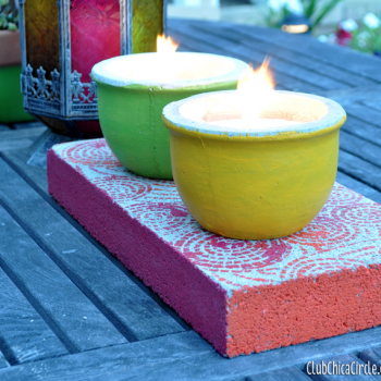Concrete Block Candle Centerpiece