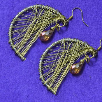 Wire-Wrapped Moon Earrings
