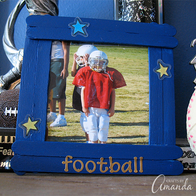 Turn craft sticks into a fun frame for yourself or to give as a gift.