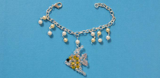 How to Make a Handmade Pearl and Chain Bracelet with Glass Bead Fish Pendant