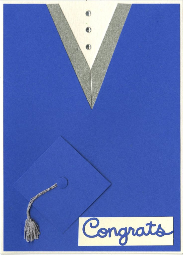 This easy card can be personalized to match the graduate's school colors.