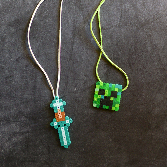 Perler beads make the perfect pixelated pendants for these Minecraft themed necklaces. Easy and fun for kids to make.