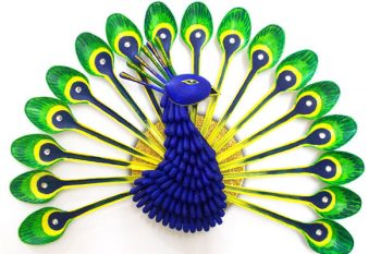 DIY Plastic Spoon Peacock Home Decor