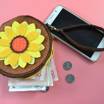 Felt Sunflower Change Purse