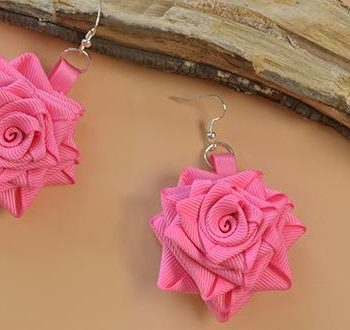 Grosgrain Rose Dangle Earrings