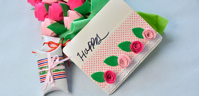 Easy DIY Project – How to Make a Lovely Felt Roses Gift Card for Children at Home