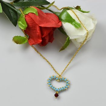 Seed Bead Heart Pendant Necklace