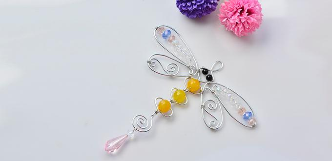 How to Make Handmade Wire Wrapped Dragonfly Hanging Decoration with Glass Beads