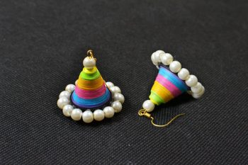 How to Make Cone Pearl Beads Dangle Earrings with Colorful Quilling Paper