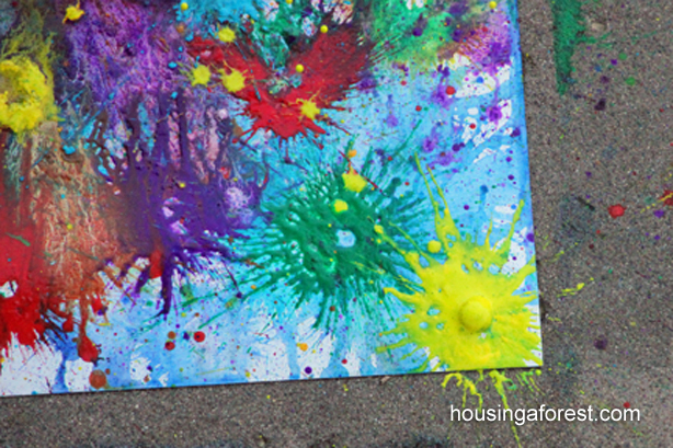 Head outdoors and try this super cool exploding art!