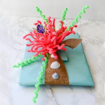 Make a pipe cleaner anemone (instead of a bow)  for a Finding Dory themed present.  I love creative gift wrapping!