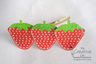 Strawberry barrettes and hairpins make great party favors!