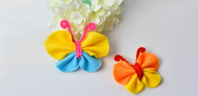 DIY Hair Ornaments - How to Make Lovely Felt Butterfly Hair Clip for Kids