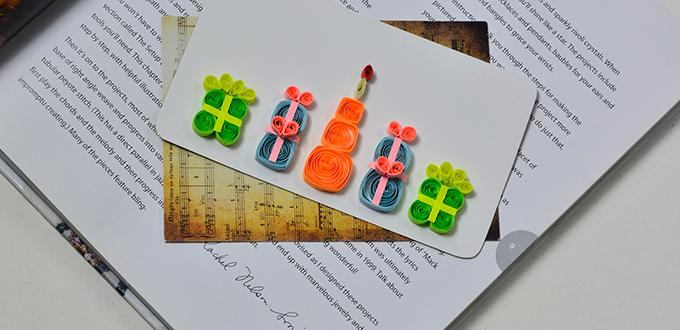 How to Make Handmade Birthday Cake Card for Kids with Colorful Quilling Paper