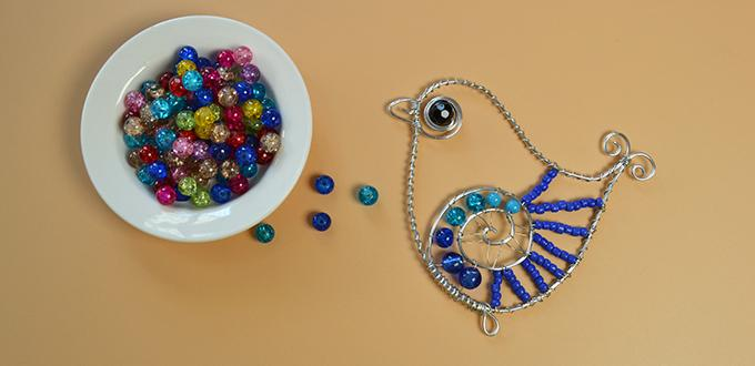 How to Make Cute Beading Aluminum Wire Wrapped Bird Ornament for Kids