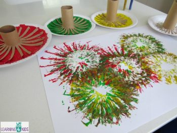Use cardboard tubes to paint beautiful fireworks!