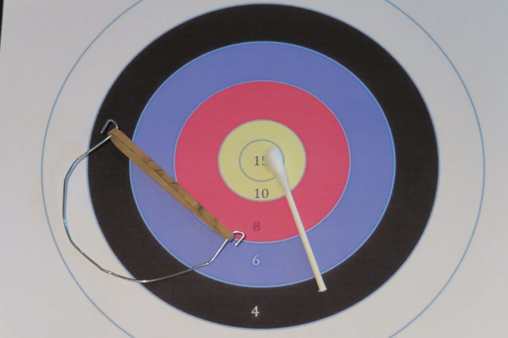 This miniature archery set can be used indoors or out.