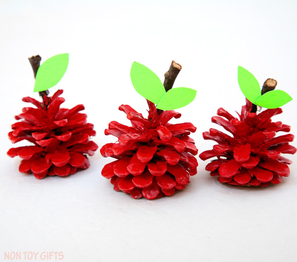 Pinecone apple craft for kids.