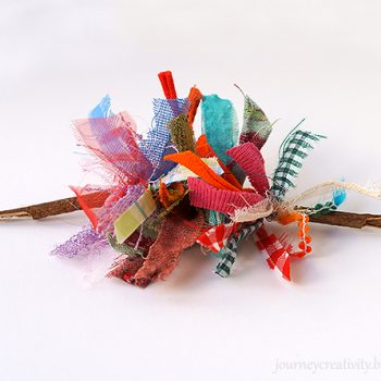 Twig and Fabric Brooch