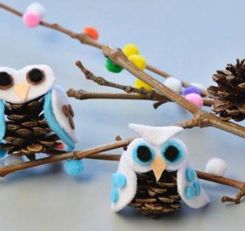 Felt Pinecone Owl