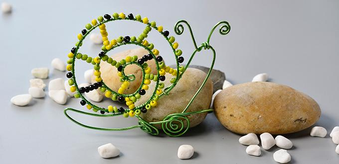 How to Make Cute Aluminum Wire Wrapped Snail with Colorful Seed Beads