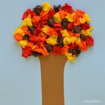 This fall tree craft uses materials that allow kids to explore the colors of fall leaves as well as texture and sound while working on fine motor skills.