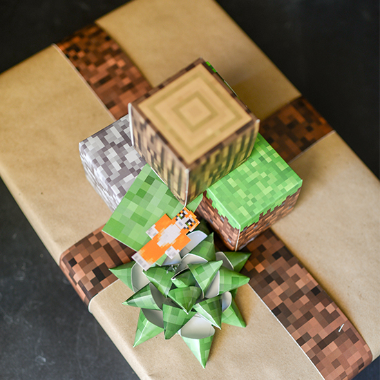 Use free printable pixelated Minecraft scrapbook paper and some Papercraft resources to wrap a present for your favorite Minecraft fan.